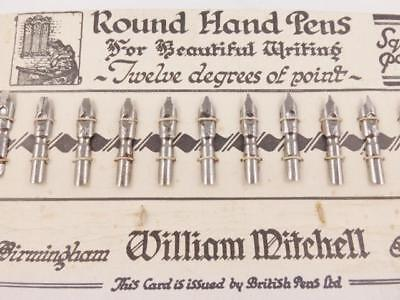 Vintage Set Of 12 William Mitchell Round Hand Pens Square Point Pen Nibs