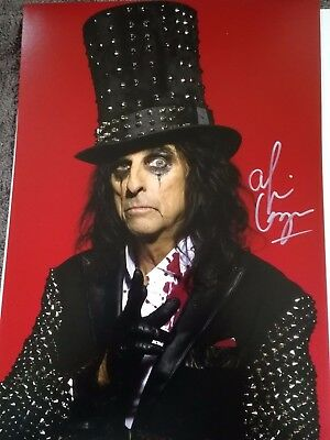 Alice Cooper Genuine Autographed 12x8inch photograph