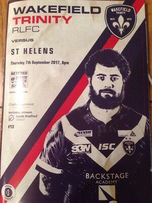 Wakefield Trinity V St Helens Programme And Teamsheet 7/9/17
