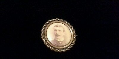Mourning Brooch Pin-Photo Insert Man -Working Pinback-Early