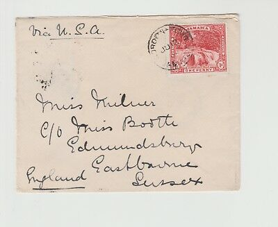 Jamaica Small Single Rate cover to Sussex with Single Ring cancel from 12/07/190