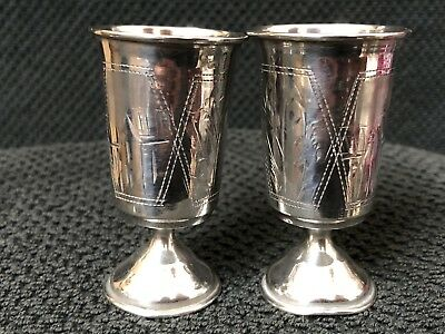 2 Antique Imperial Russian  84 Silver Engraved Kuddish Vodka Shot Cups