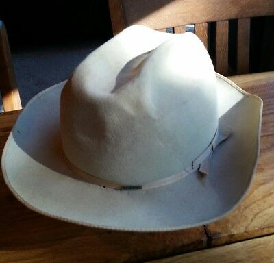 Vintage Stetson Hat The Open Road 4X Beaver Western Fedora 7 1/2  Silver Belly