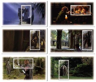 NEW ZEALAND • 2001 • Lord of the Rings: Fellowship of Ring • Set of 6 Minisheets