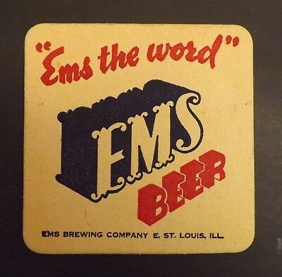 Vintage Ems Beer Coaster -  East St. Louis, IL - No Reserve!
