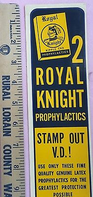 NOS condom Coin Op machine decal 1950s vintage antique Royal knight