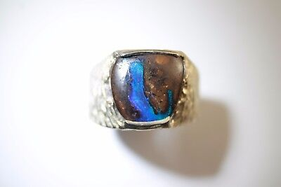 Blue & Green Solid Boulder Opal Ring in 100% Sterling Silver