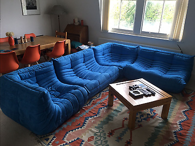 Ligne Roset TOGO Set 2x 2-seater and 2x corner, new Blue microfiber/suede!