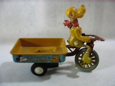 Vintage Disney Line Mar Metal Toy - Mickey's Delivery Cart
