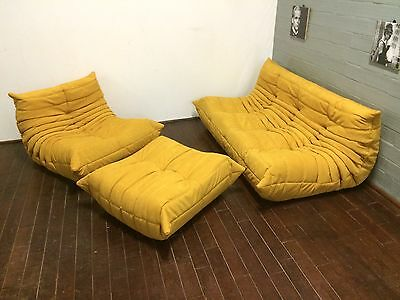 Ligne Roset TOGO 3-seater, 1-seater and a pouffe, new YELLOW microfiber/suede!