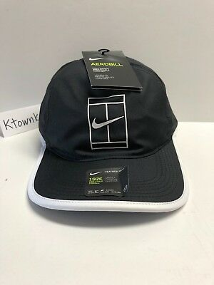 Nike Court Aerobill Featherlight Unisex Tennis Hat Black White 864105 011 51b7df8580d3