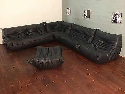 Ligne Roset TOGO Set-1x3, 1x2, 1 Seat, corner, pouffe, new black real leather!