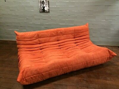 Ligne Roset TOGO 3-seater, new ORANGE microfiber/suede!