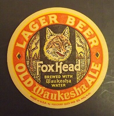 Vintage Fox Head Beer Coaster -  Waukesha, WI - No Reserve!