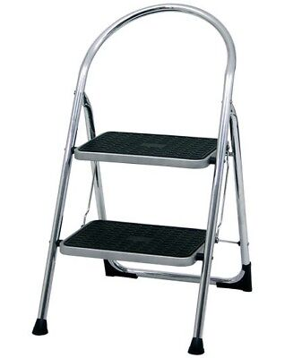 Two Tread Chrome Plated Step Stool