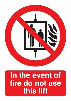 In Event of Fire Sign - Rigid Polypropylene - 210mm x 148mm