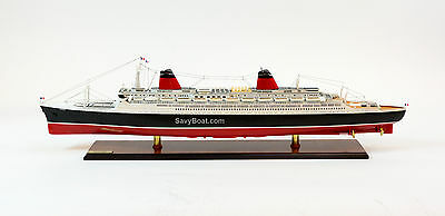 "SS France French Line Flagship Ocean Liner Wooden Ship Model 41.5"" Scale 1:300"