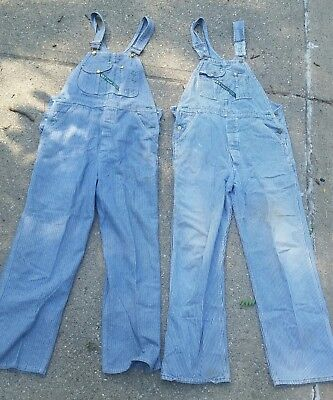 Lot of 2 Vintage Key Imperial Overalls Denim Pants USA Size W34 L32 and W34 L30