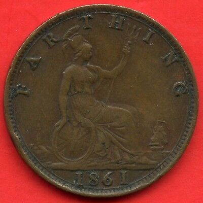 1861 Great Britain 1 Farthing Coin