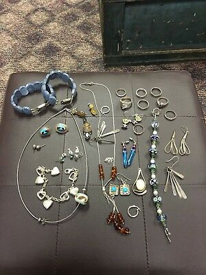 Vintage Estate Mixed Sterling Silver Jewelry Lot For Repair Or Scrap