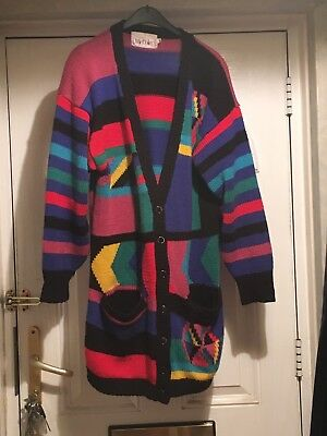 Ladies Size M Bright Multi Coloured Cardigan Soft & Thick Material 100% Acrylic