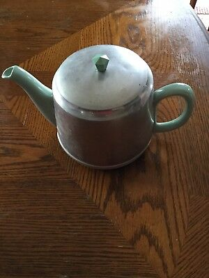 1940's - 1950's Vintage ceramic teapot with aluminum insulated cover