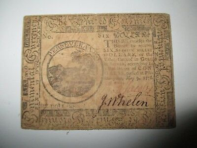 1776 Pennsylvania - Philadelphia Six Dollar Colonial Currency Note