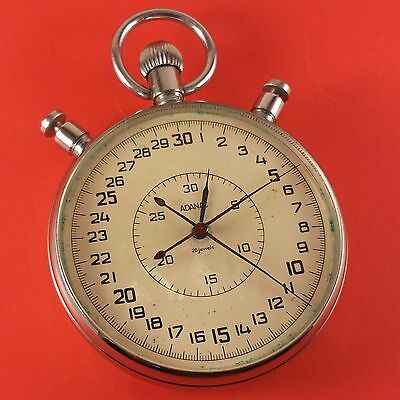 "Vintage Large ""ADANAC"" 20 Jewel Chronograph Stop Watch S/N 5498 2 1/2"" Diameter"