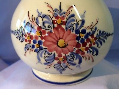 "WECHSLER Tirolkeramik Austria 5"" PITCHER w/soothing Red Blue Yellow Black Design"