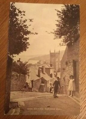 St.Ives,Barnoon Hill with Children . Sepiatone Postcard.