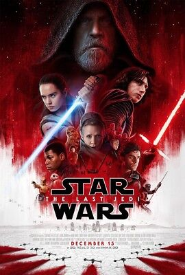 "Star Wars VIII: The Last Jedi - ORIGINAL Theatrical Movie Poster, 27x40"", D/S"