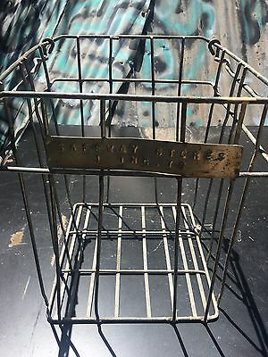 Vintage Wire Milk Crate With Movable Handles