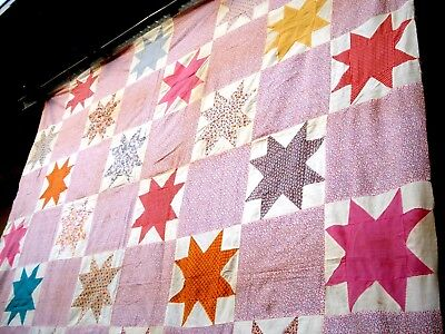 Vintage 1930's EIGHT POINT STAR QUILT TOP pastel floral