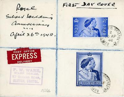GB 1948 Silver Wedding RARE! FDC with QUEEN'S ROAD BRISTOL CDS Cat £90+