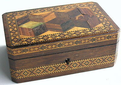 Antique Tunbridge Ware Parquetry Box Tumbling Blocks Pattern As-Found Wood