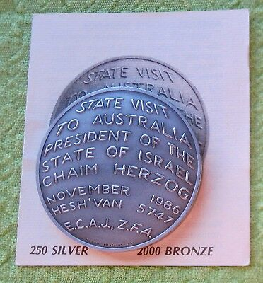 1986 State Visit To Australia by President Of Israel Medal in Silver  - 50mm