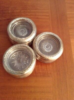 Rogers Antique Coasters Set Of 12 Glass And Sterling Silver