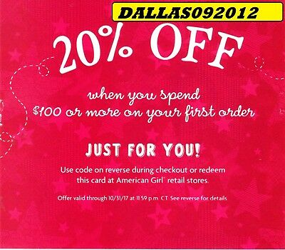 AMERICAN GIRL Online/IN-STORE Code  - Enjoy 20% OFF Purchase!! - Exp 10/31/17