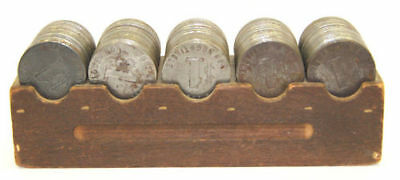 One Dollar Antique Metal Casino Tokens (x120) in Wooden Boat