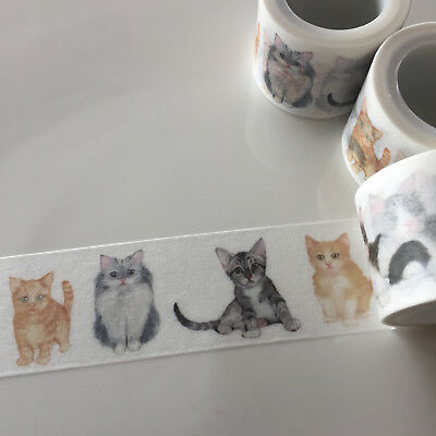 Washi Tape Wide Kittens Cats 30Mm Wide X 5Mtr Roll Craft Plan Wrap Scrap
