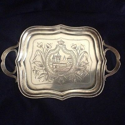 19thC Russian Silver Tray w/Hand Chased Village View fully matched hallmarked