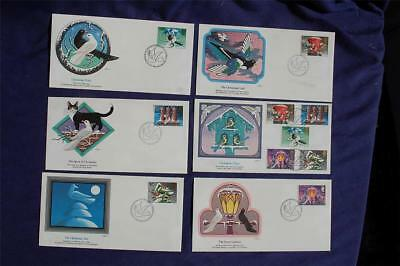 1983 Great Britain Christmas Cheer Stamps 6 FDCs Sc#1035-39 GB06 Card Tree Peace