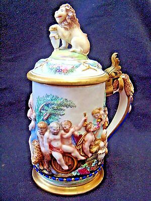 Antique ~ Naples Royal Factory Stein ~ 1830's ~ Beautiful w Gold Luster inside