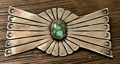 Old Pawn Pre Harvey Era Sterling Silver & Turquoise Bow Pin Brooch No Reserve
