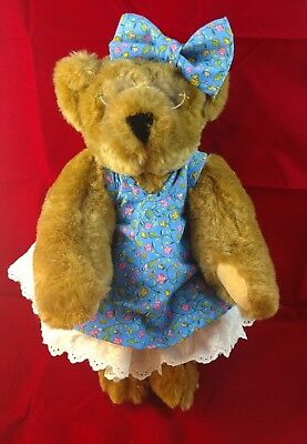 """The Vermont Teddy Bear Company 16"""" ~Honey~dressed with glasses"""