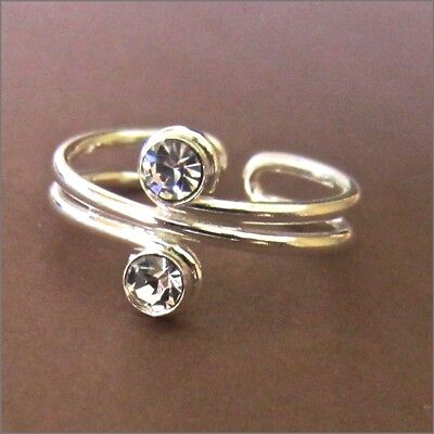 Toe Ring Sterling Silver 925 Clear Crystal Stone Adjustable Women Midi Beach New