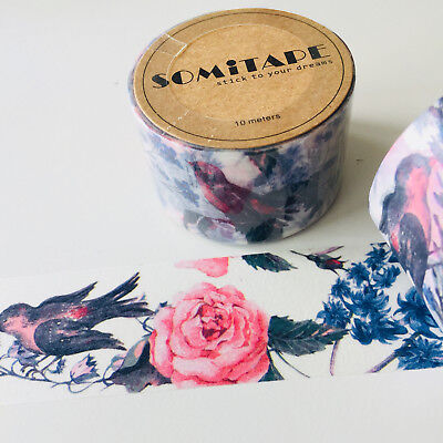 Washi Tape Somi Wide Vintage Floral & Bird 30Mm Wide X 10Mtr Craft Plan Wrap