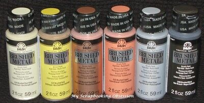 PLAID FOLKART 'BRUSHED METAL - ACRYLIC PAINT' (You Choose Colour) 59ml
