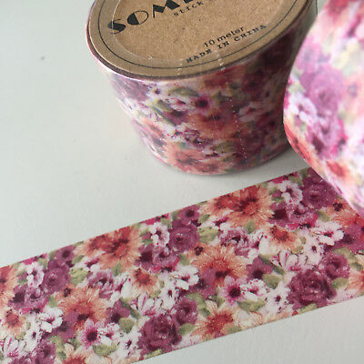 Washi Tape Somi Wide Pretty Floral 30Mm Wide X 10Mtr Craft Plan Wrap Scrap