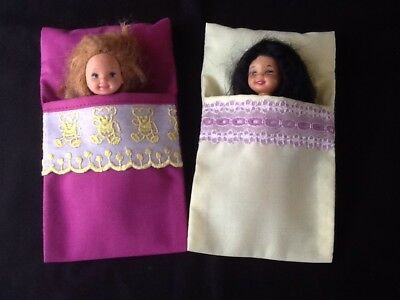 "2 Handmade Sleeping Bags For 4"" To 5"" Dolls (Kelly, etc.)"